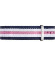 Daniel Wellington DW00200050 Mesdames southampton classique 36mm argent nylon blanc et rose bleu bracelet de rechange