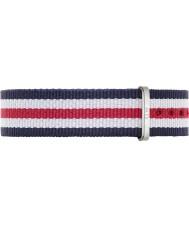 Daniel Wellington DW00200051 Mesdames canterbury classique 36mm argent blanc nylon bleu et rouge bracelet de rechange