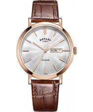 Rotary GS05304-02 Mens montres windsor plaqué or rose en cuir marron montre bracelet