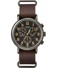 Timex TW2P85400 Weekender brune montre chronographe en cuir