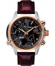 Timex T2N942 Mens monde noir marron temps watch