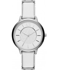 Armani Exchange AX5300 Mesdames cuir blanc montre bracelet en robe