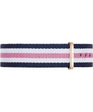 Daniel Wellington DW00200034 Mesdames classique 36mm southampton rose blanche en nylon bleu et rose bracelet de rechange or