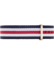 Daniel Wellington DW00200030 Mesdames classique 36mm canterbury rose blanche en nylon bleu et rouge bracelet de rechange or