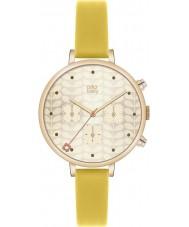 Orla Kiely OK2038 Mesdames lierre chronographe or cuir jaune montre bracelet