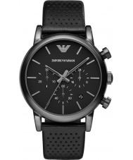 Emporio Armani AR1737 Mens classique ip chronographe cuir noir montre bracelet