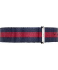 Daniel Wellington DW00200015 Mens oxford classique 40mm argent nylon bleu et rouge bracelet de rechange