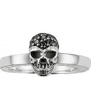 Thomas Sabo TR1877-051-11-56 Mesdames zircone noir crâne anneau de pose d'argent - taille p.5 (eu 56)