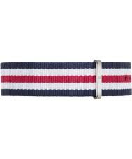Daniel Wellington DW00200016 Mens classique canterbury 40mm argent nylon blanc et bleu rouge bracelet de rechange