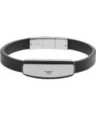 Emporio Armani EGS2186040 Mens signature bracelet en cuir noir