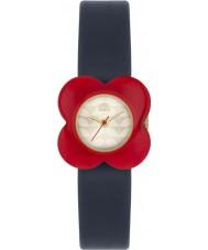 Orla Kiely OK2062 Mesdames pavot fleur rouge boîte de montre marine bracelet en cuir