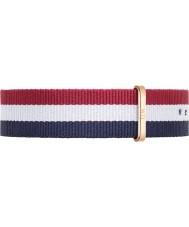 Daniel Wellington DW00200003 Mens classique 40mm cambridge rose bleu nylon blanc et rouge bracelet de rechange or