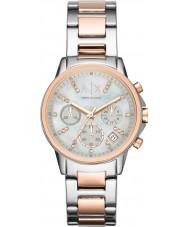 Armani Exchange AX4331 Mesdames argent et rose chronographe or montre habillée