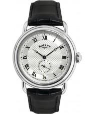 Rotary GS02424-21 Mens montres sherlock holmes argent montre noir