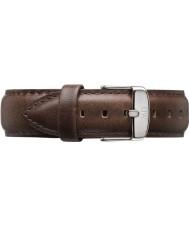 Daniel Wellington DW00200023 Mens classique bristol 40mm argent brun bracelet en cuir de rechange