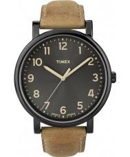 Timex T2N677 Mens noir tan montre ronde classique