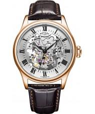 Rotary GS02942-01 montres Mens plaqué or rose brun montre mécanique squelette