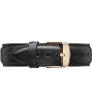Daniel Wellington DW00200007 Mens classique 40mm sheffield rose bracelet en cuir noir rechange or