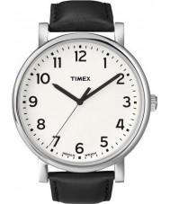 Timex T2N338 Mens blanc noir montre ronde classique