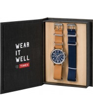 Timex TWG012800 Mens weekender cuir beige et bleu rechange chronographe nylon cadeau montre ensemble