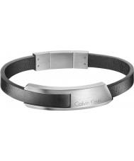 Calvin Klein KJ4MBB090100 Mens cognent bracelet en cuir noir