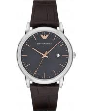 Emporio Armani AR1996 robe Mens cuir marron foncé de montre bracelet