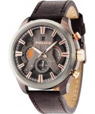 Police 14639JSBZU-61 Mens cyclone cuir marron montre bracelet