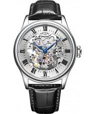Rotary GS02940-06 montres Mens brun de montre mécanique squelette d'argent