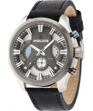 Police 14639JSTU-04 cyclone Mens cuir noir montre bracelet