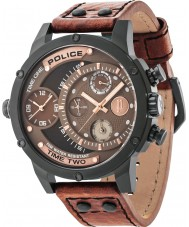 Police 14536JSB-12A Mens additionneur cuir marron montre bracelet