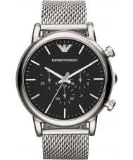 Emporio Armani AR1808 Mens classique chronographe argent montre bracelet en maille