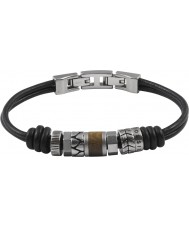 Fossil JF84196040 Mens bracelet vintage en cuir noir casual