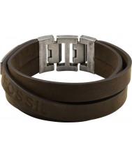 Fossil JF84955040 Mens large bracelet en cuir brun multi wrap