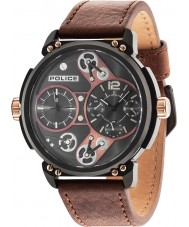 Police 14693JSB-12A Mens steampunk cuir marron montre bracelet