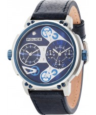 Police 14693JSTBL-03 Mens steampunk cuir bleu montre bracelet