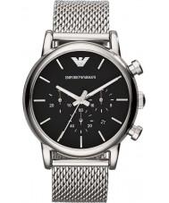 Emporio Armani AR1811 Mens chronographe classique noir argent montre bracelet en maille