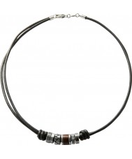 Fossil JF84068040 Mens millésime collier en cuir noir casual