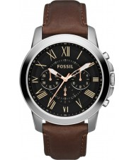 Fossil FS4813 Hommes accordent noir marron montre chronographe